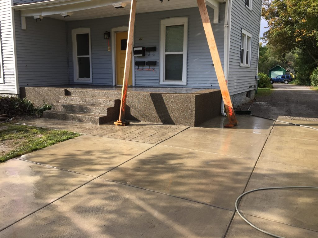 Exposed Aggregate U0026 Stamped Concrete Patio With Awning