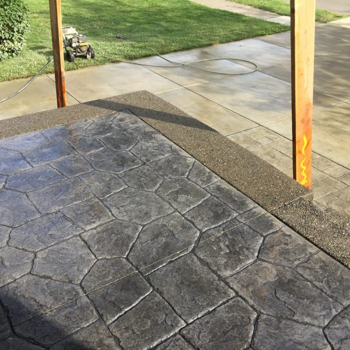 Exposed Aggregate & Stamped Concrete Patio with Awning