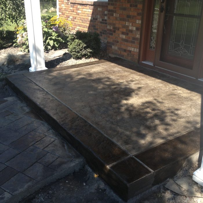 Stamped Concrete Porch & Walk – stain / ashlar slate