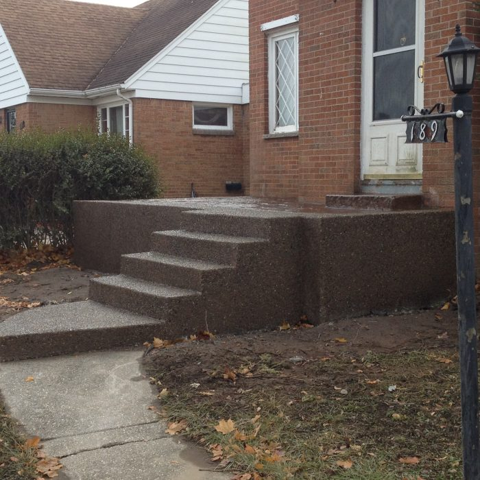 Exposed Aggregate and stamped concrete patio – E. Morris