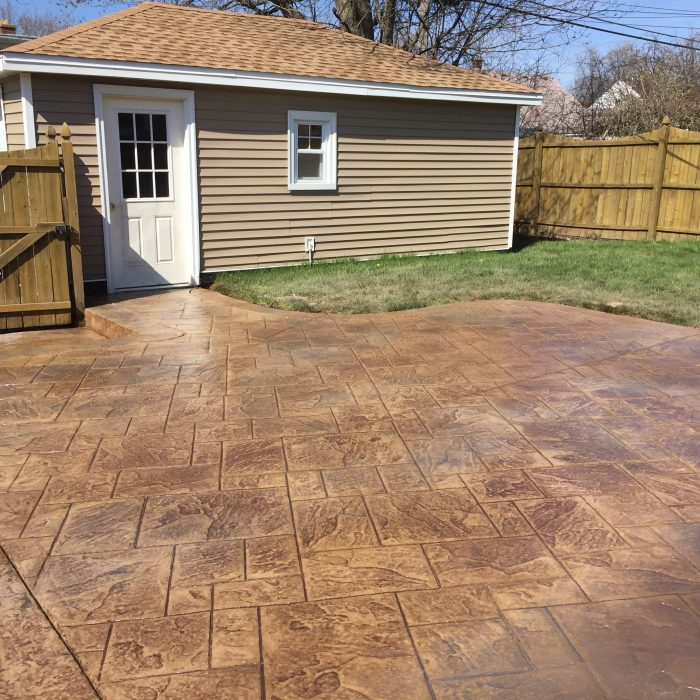Brown Stamped Concrete Patio