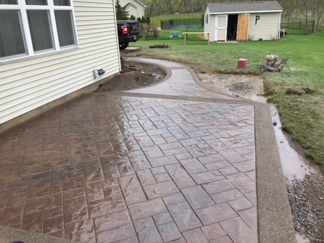 Stamped Concrete Patio / Exposed Aggregate Border / Sidewalk