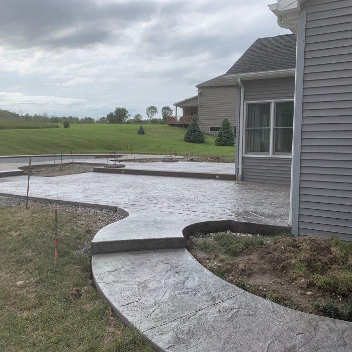 Stamped Patio, Pool Surround, Sidewalk, Pillars & Overhang