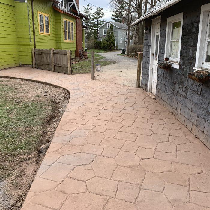 Huge Stamped Concrete Patio & Walkway